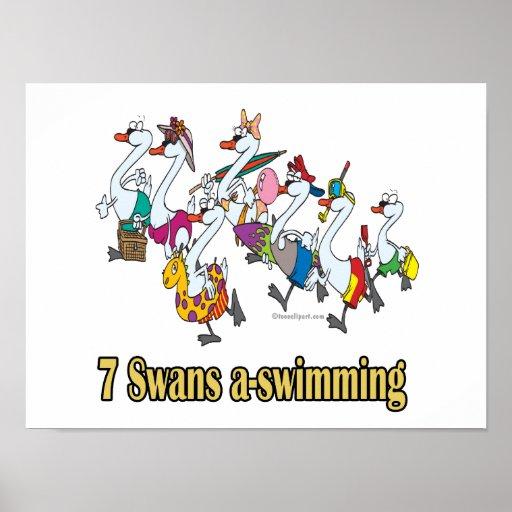 siete navidad del día de la uno-natación de los ci posters