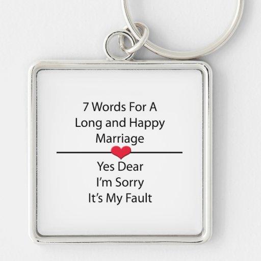 Siete palabras para una boda larga y feliz llavero