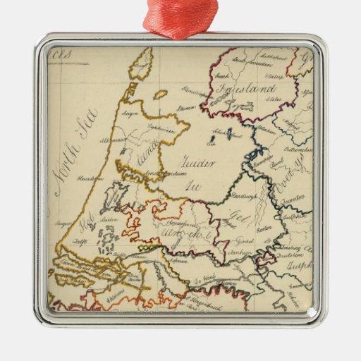 Siete provincias unidas 2 adorno navideño cuadrado de metal