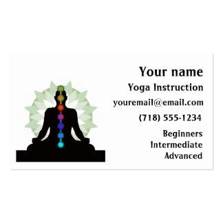 Siete tarjetas de visita del diseño de la yoga de