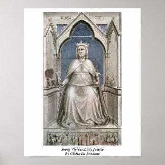 Siete virtudes: Señora Justice By Giotto Di Bondon Posters