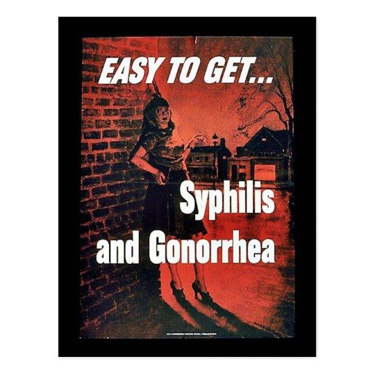 Sífilis y gonorrea tarjeta postal
