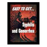 Sífilis y gonorrea tarjetas postales