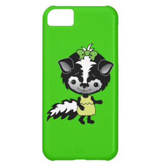 SIG CUTE CARTOON SKUNK GREEN BOW YELLOW DRESS ADOR CASE FOR iPhone 5C