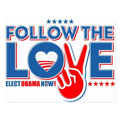 Siga el amor - ahora elija a Obama Postal