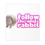 Siga el conejo blanco - conejito lindo blocs de notas