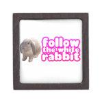 Siga el conejo blanco - conejito lindo caja de recuerdo de calidad