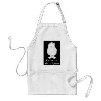 Siga el conejo blanco en negro delantal