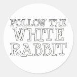 Siga el conejo blanco etiqueta