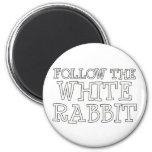 Siga el conejo blanco imán para frigorifico