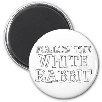 Siga el conejo blanco imán redondo 5 cm