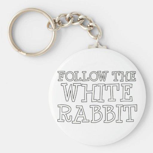 Siga el conejo blanco llavero personalizado