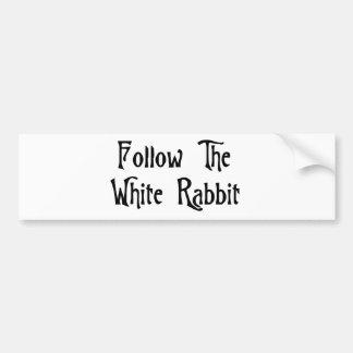 Siga el conejo blanco pegatina para auto