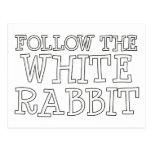 Siga el conejo blanco postal