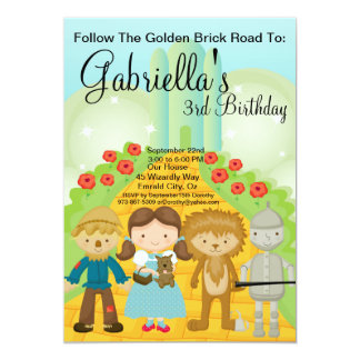 """Siga el cumpleaños de oro del camino del ladrillo invitación 5"""" x 7"""""""