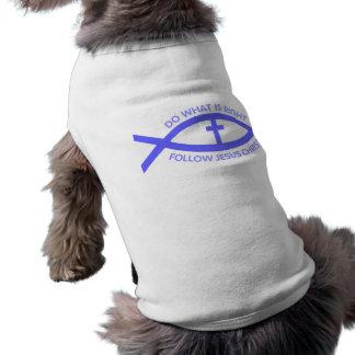 Siga la camisa del mascota del símbolo de los pesc playera sin mangas para perro