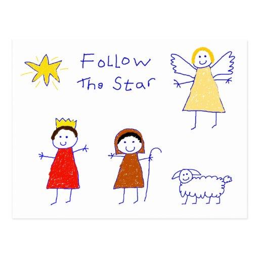 Siga la estrella postales