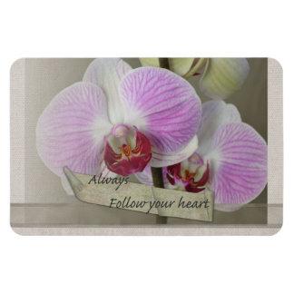 Siga siempre sus orquídeas del corazón imanes flexibles