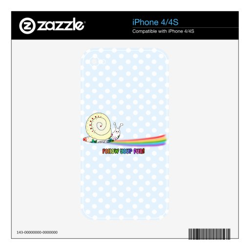 Siga su arco iris lindo del caracol de la diversió skins para iPhone 4S