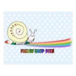 Siga su arco iris lindo del caracol de la diversió tarjeta postal