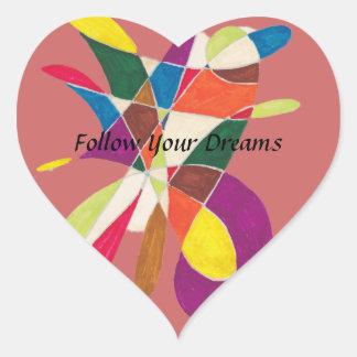 Siga su bosquejo Sueño-Abstracto del lápiz Pegatina En Forma De Corazón