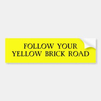 Siga su camino amarillo del ladrillo pegatina para auto