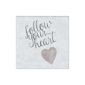 Siga su corazón imán de piedra