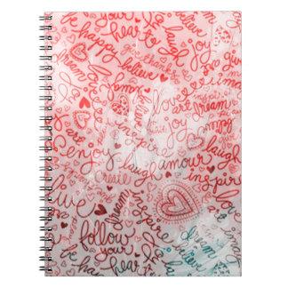 Siga su corazón, rojo libro de apuntes con espiral