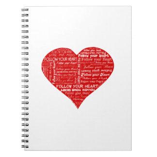 Siga su corazón rojo y blanco del corazón - del am libreta