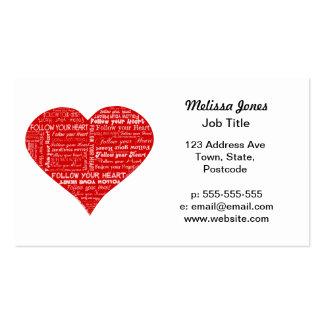Siga su corazón rojo y blanco del corazón - del tarjetas de visita