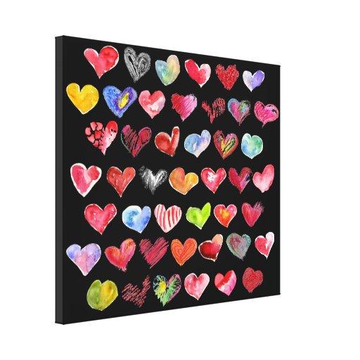Siga su impresión de la lona del negro del corazón lienzo envuelto para galerías