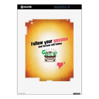 Siga su pasión iPad 2 calcomanía