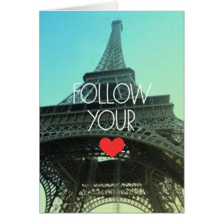 Siga su tarjeta en blanco del corazón