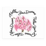 Siga sus flores rosadas de los sueños postales