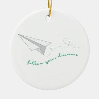 Siga sus sueños adorno navideño redondo de cerámica