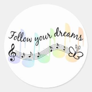 Siga sus sueños pegatinas redondas