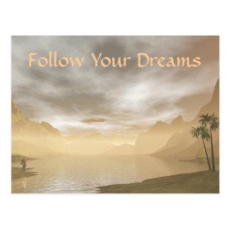 Siga sus sueños postal