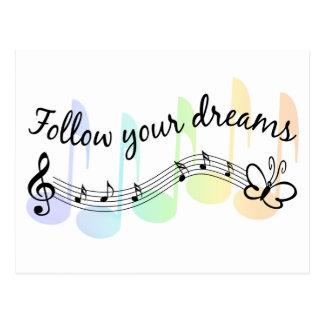 Siga sus sueños postales