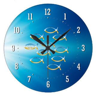 Sígalo reloj de pared cristiano del símbolo de los