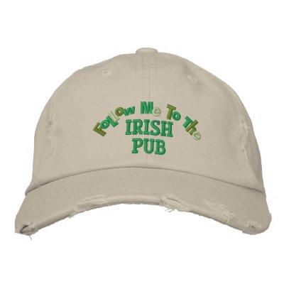 Sígame al irlandés divertido del Pub irlandés Gorra De Beisbol Bordada