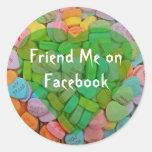 Sígame en corazones del Facebook-Caramelo con el Pegatina Redonda