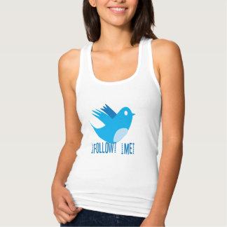 Sígame las camisetas del pájaro del gorjeo remeras