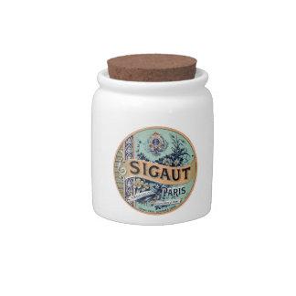 Sigaut Paris - Victorian Advertising Label Candy Jar