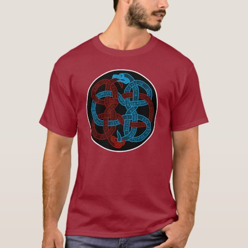 Sigdrifa's Prayer Serpents Medallion TShirt