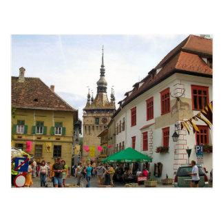 Sighisoara, CLocktower y turistas Tarjetas Postales