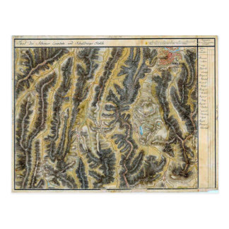 Sighisoara, Map of the area 1900 Postcard