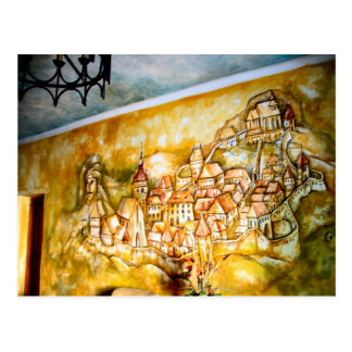Sighisoara, mural of the medieval city postcard