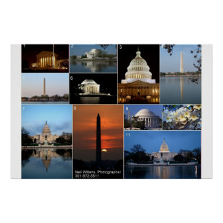 Sights of Washington, DC, Day and Night Poster