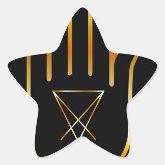 Sigil de Lucifer en una palma Pegatina En Forma De Estrella