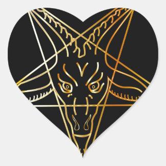 Sigil de oro de Baphomet Pegatina En Forma De Corazón